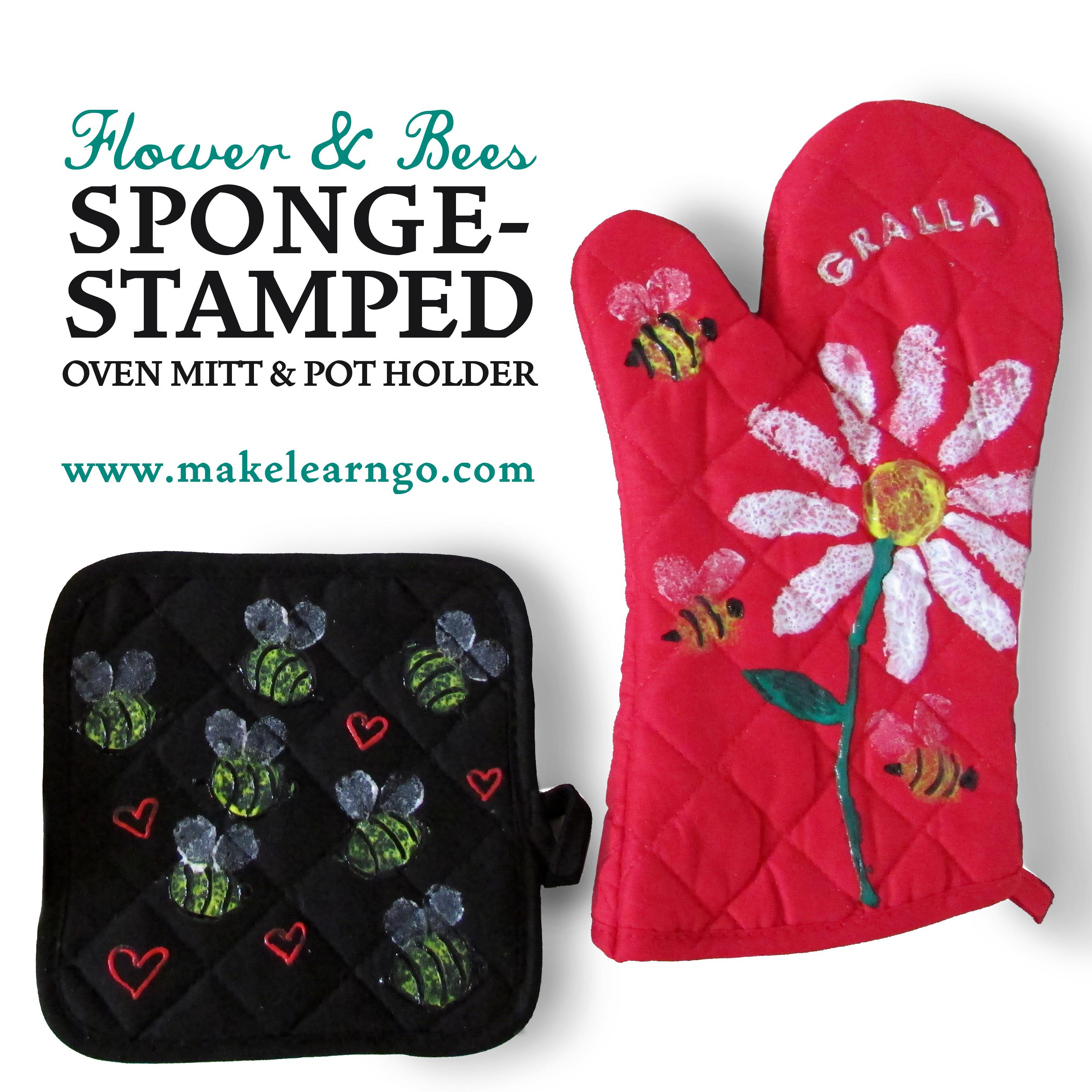 Flower bees sponge stamped oven mitt pot holder