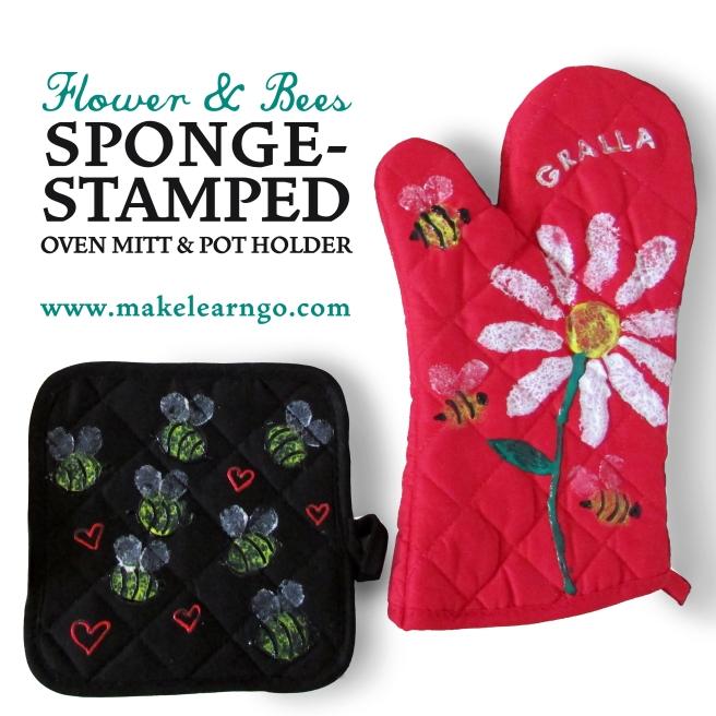 Flower & Bees Sponge-Stamped Oven Mitt & Pot Holder