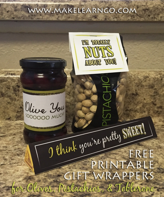 Free Printable Gift Wrappers- Olives, Pistachios, Toblerone